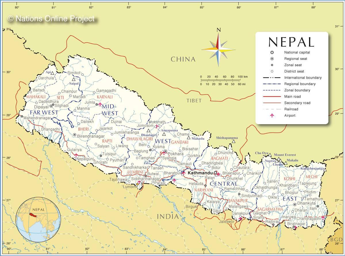 Autre carte du Népal