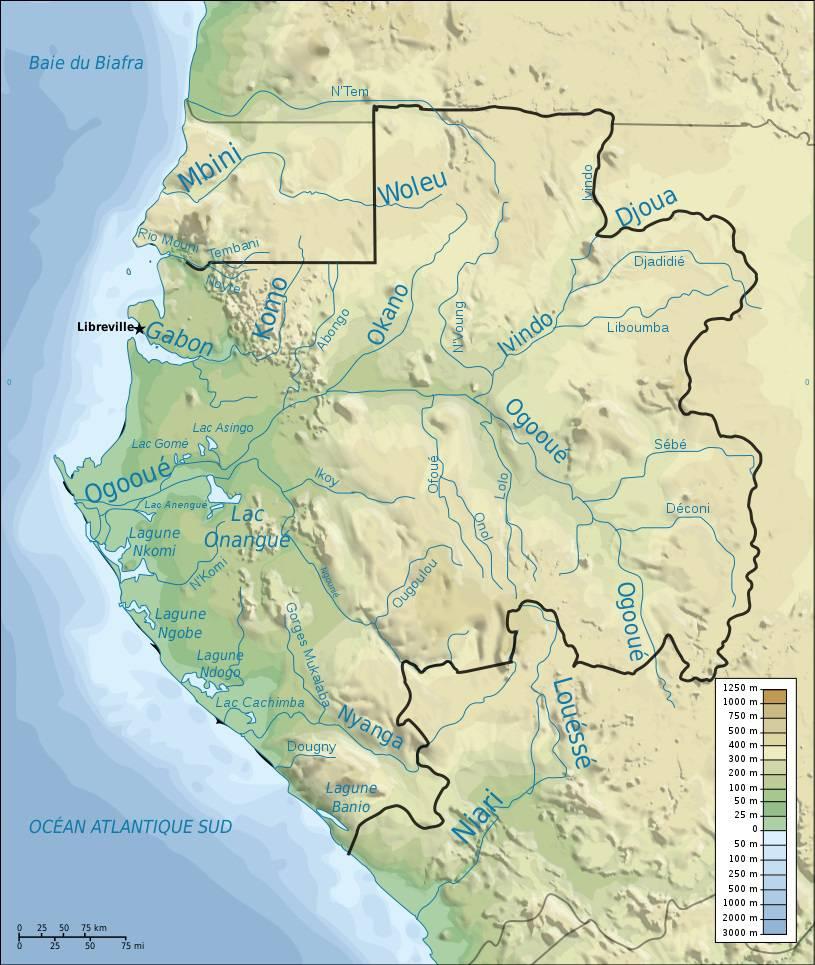 Carte des fleuves du Gabon