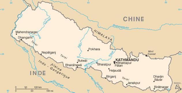 Carte des fleuves du Népal