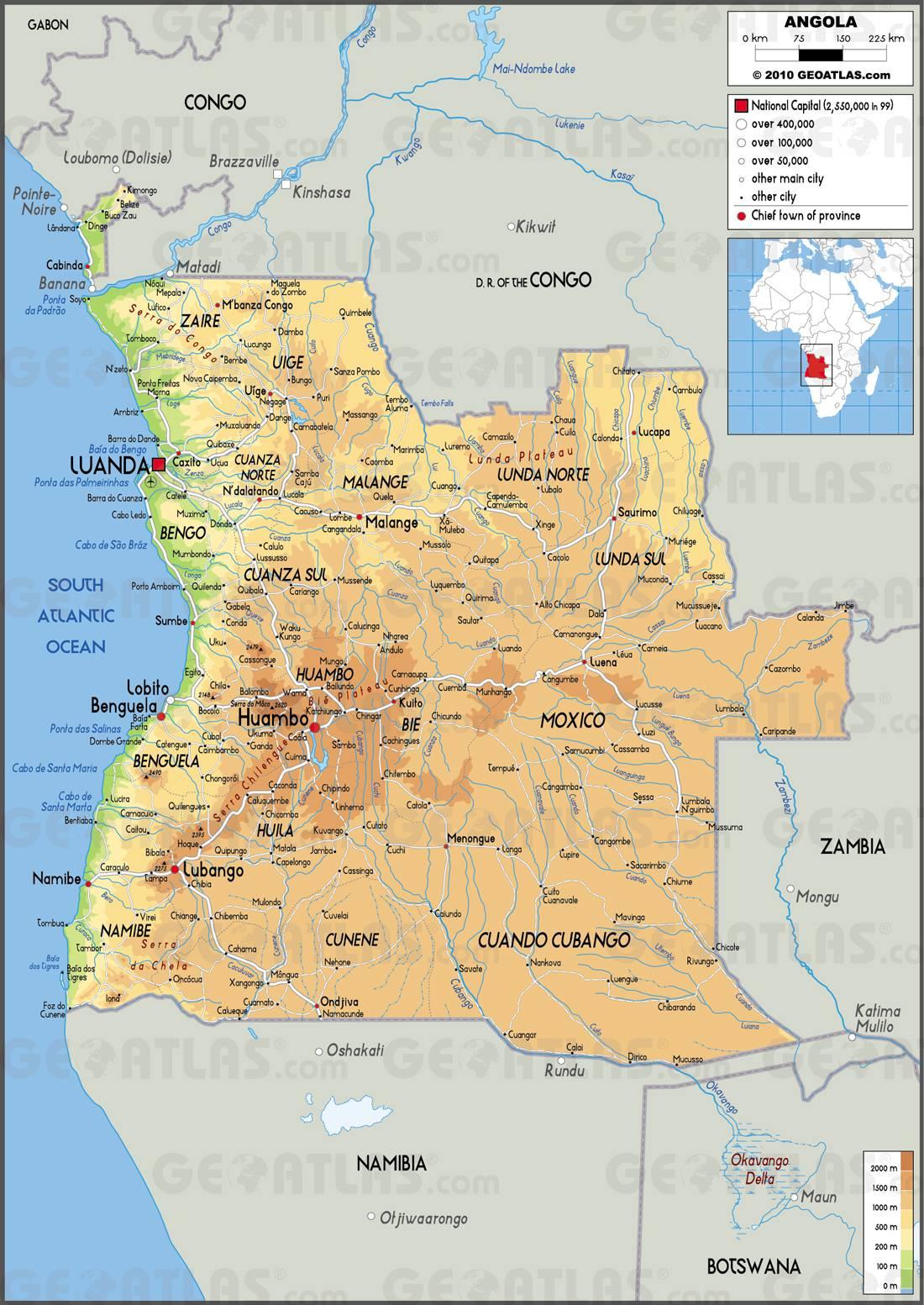 Carte géographique de l'Angola