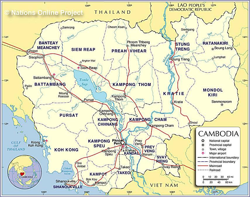 Carte géographique du Cambodge