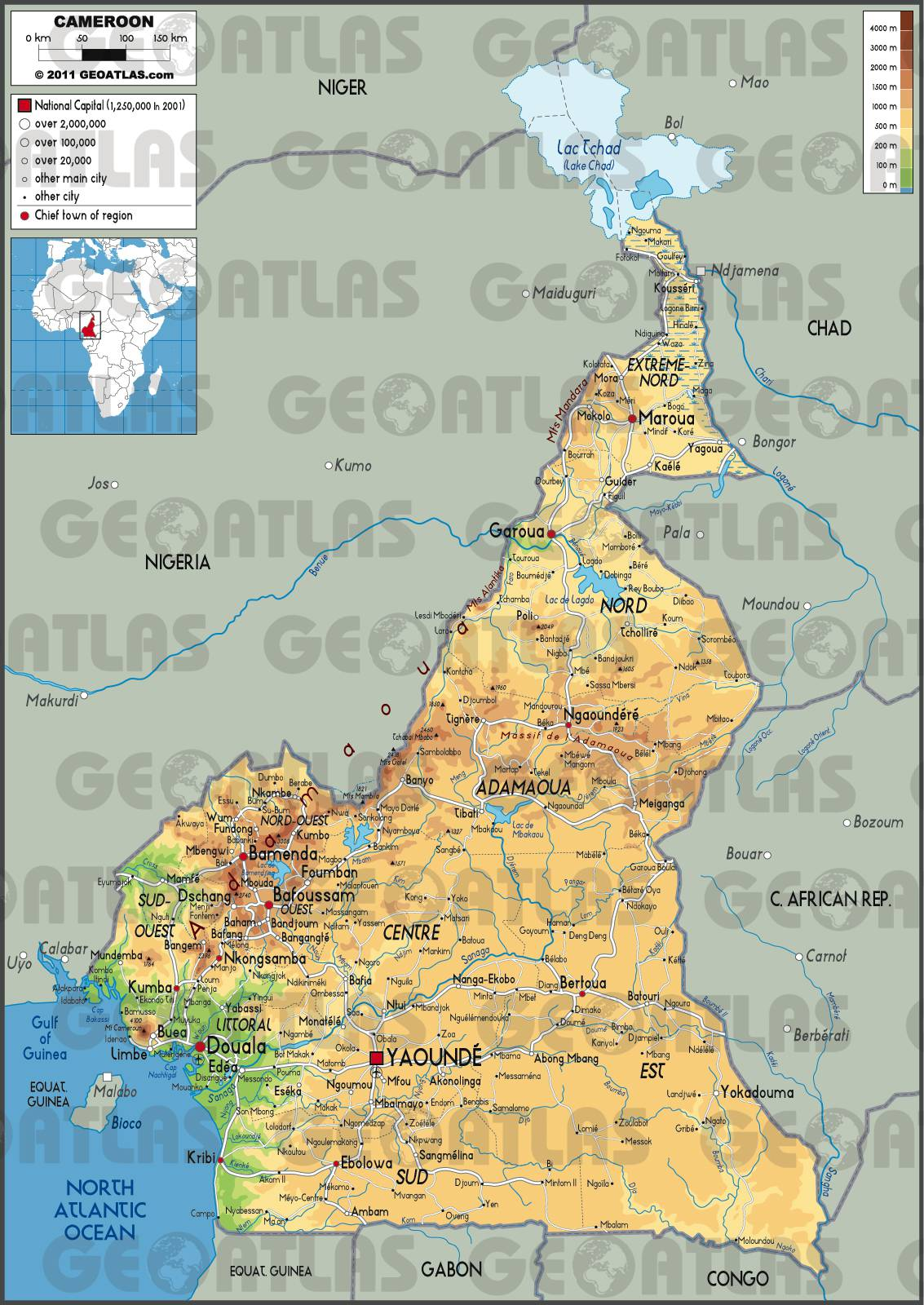 Carte géographique du Cameroun
