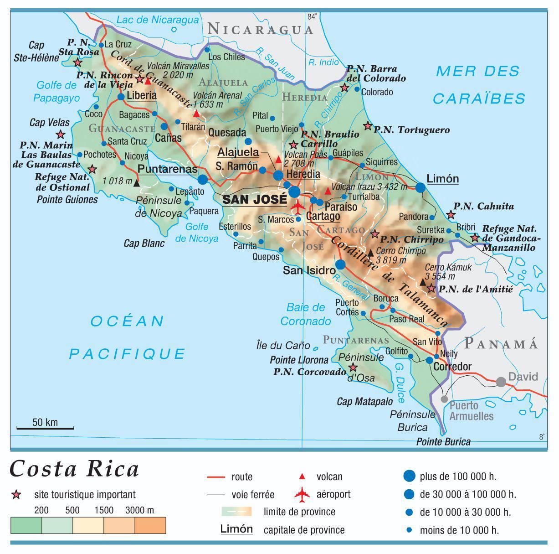Carte du Costa Rica   Plusieurs cartes du pays d'Amérique Centrale