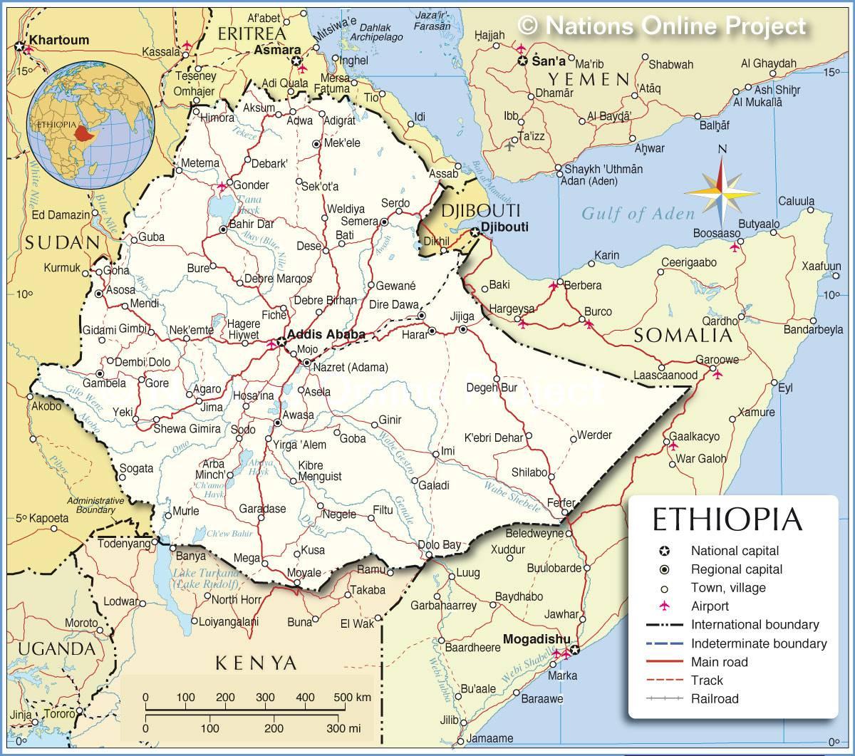 Carte de l'Ethiopie   Plusieurs cartes du pays se trouvant en Afrique