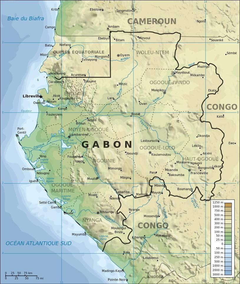 Carte géographique du Gabon