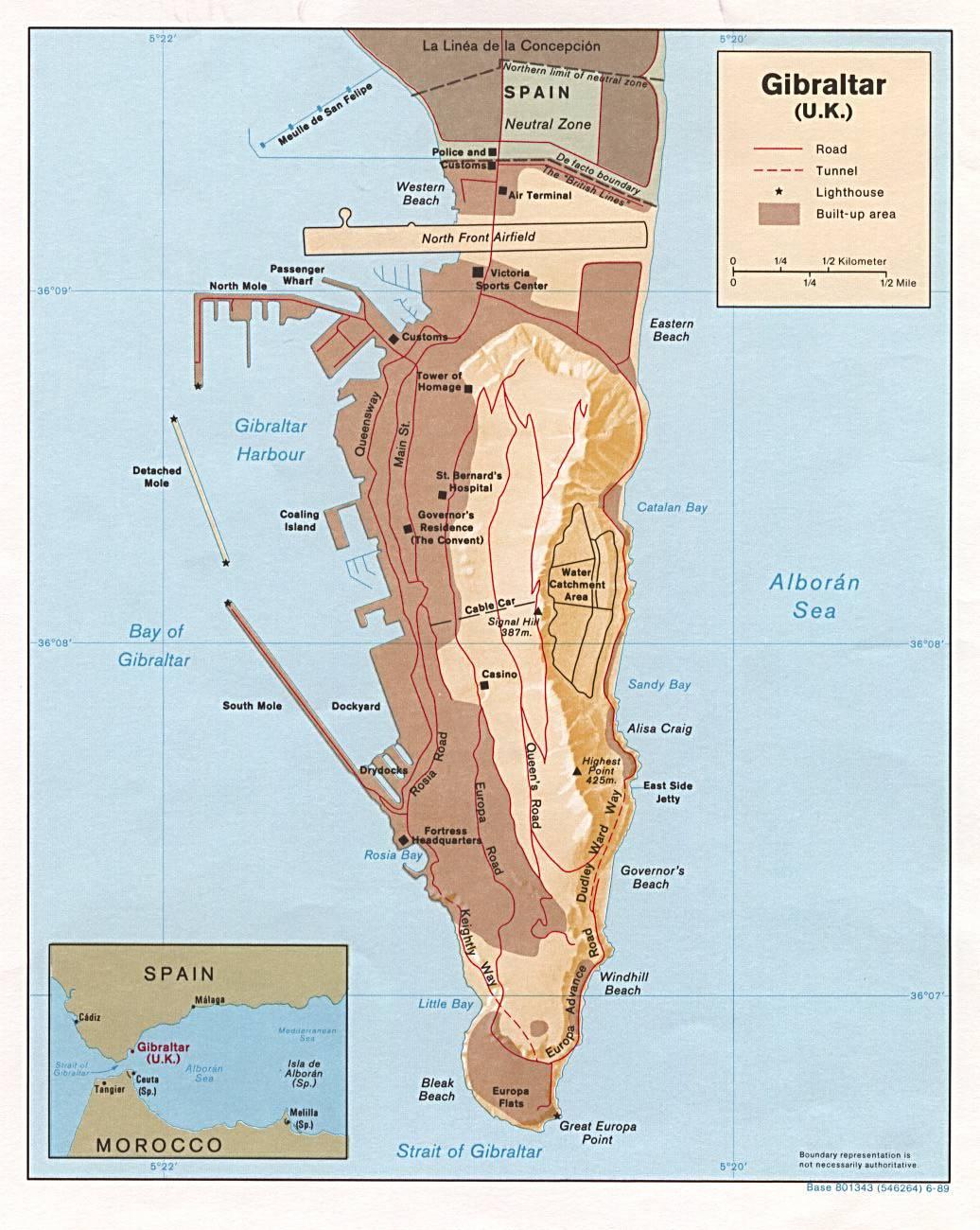 Carte géographique de Gibraltar