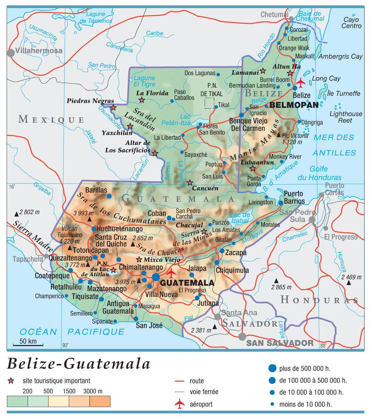 Carte du Guatemala   Plusieurs cartes du pays en Amérique du Sud