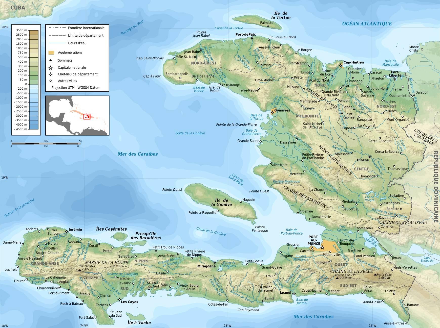 Carte géographique d'Haïti