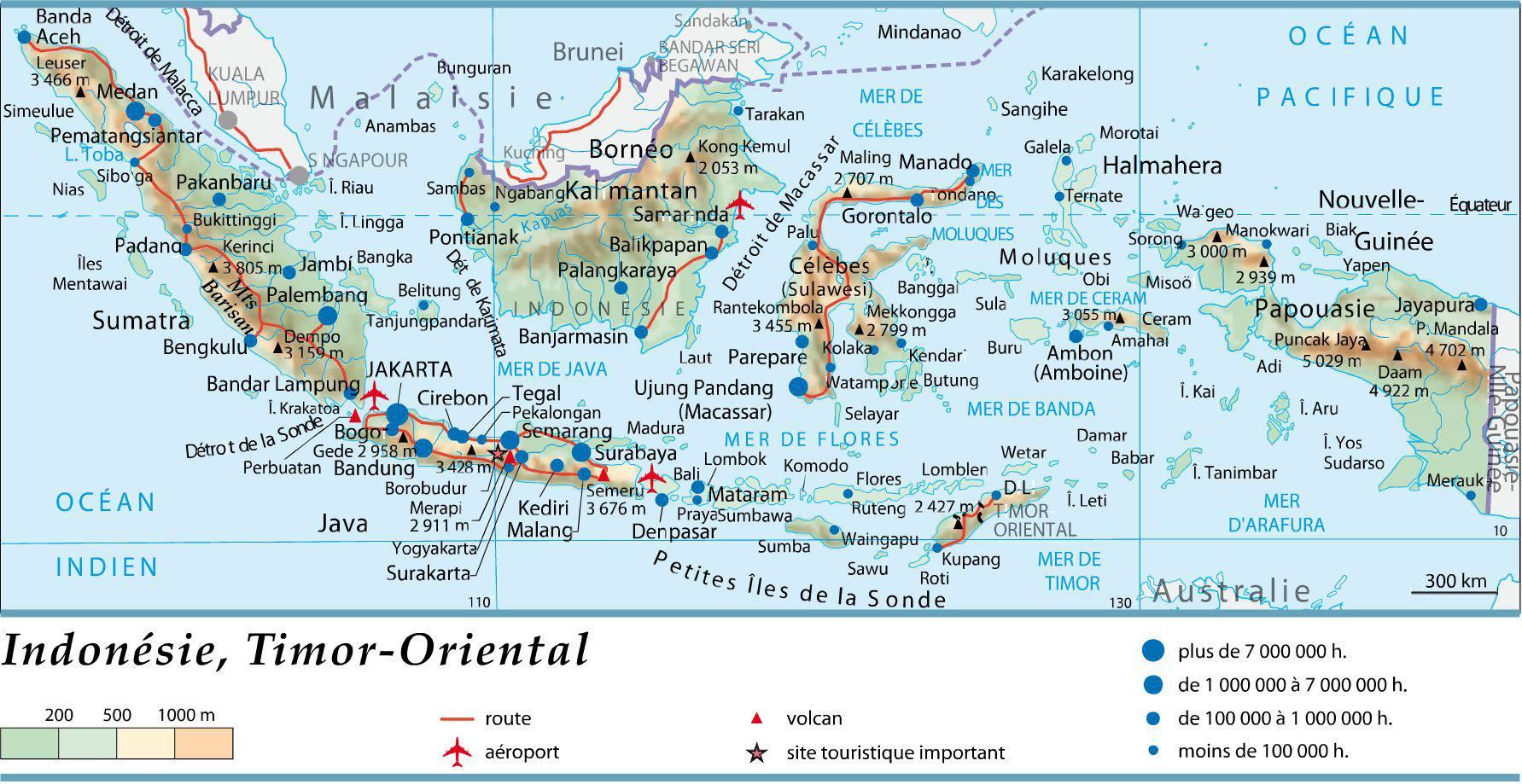 Carte géographique de l'Indonésie