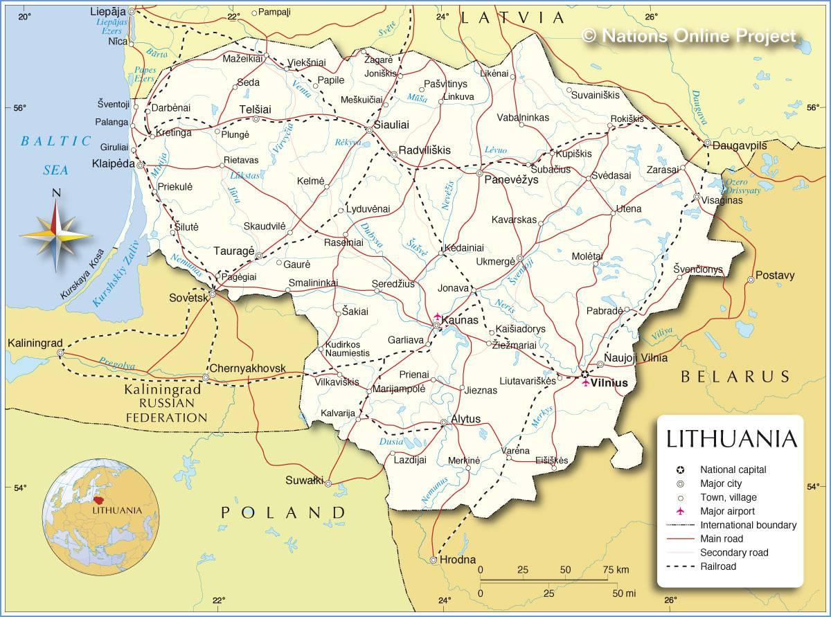 Carte géographique de la Lituanie
