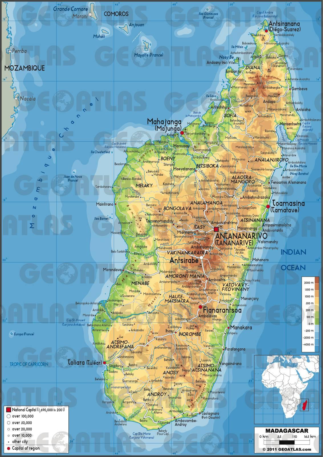Carte géographique de Madagascar