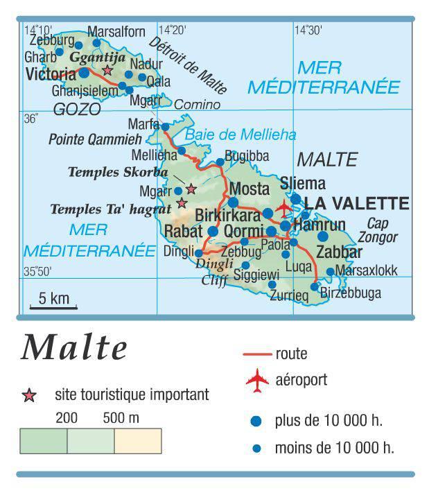 Carte géographique de Malte