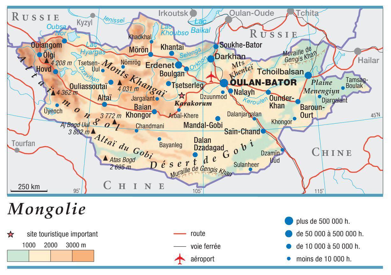 Carte géographique de la Mongolie