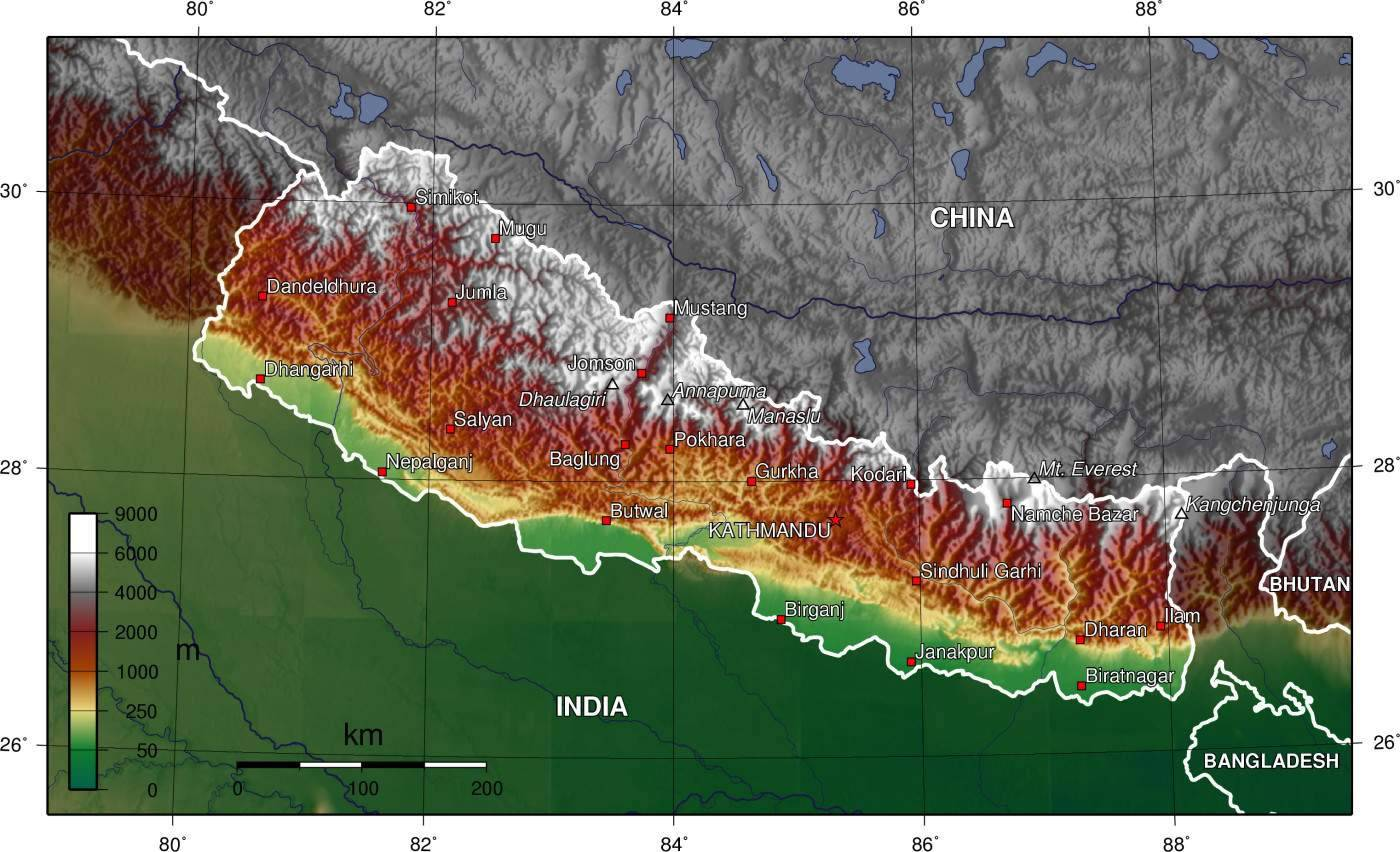 Carte géographique du Népal