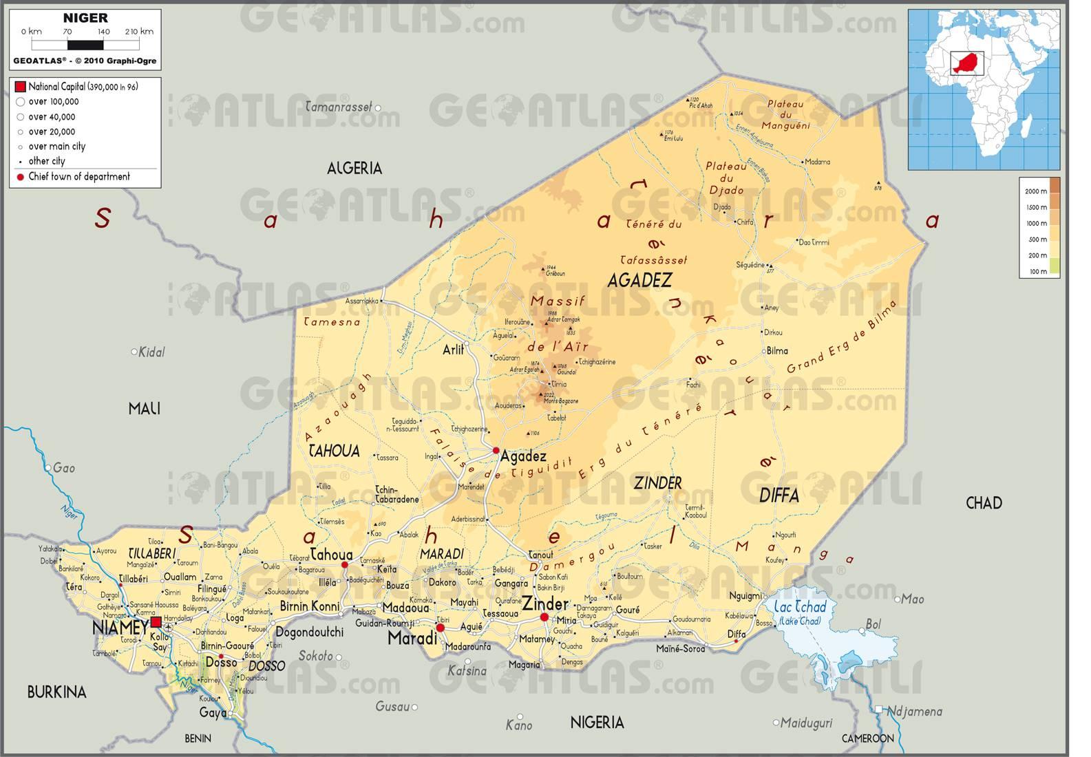Carte géographique du Niger