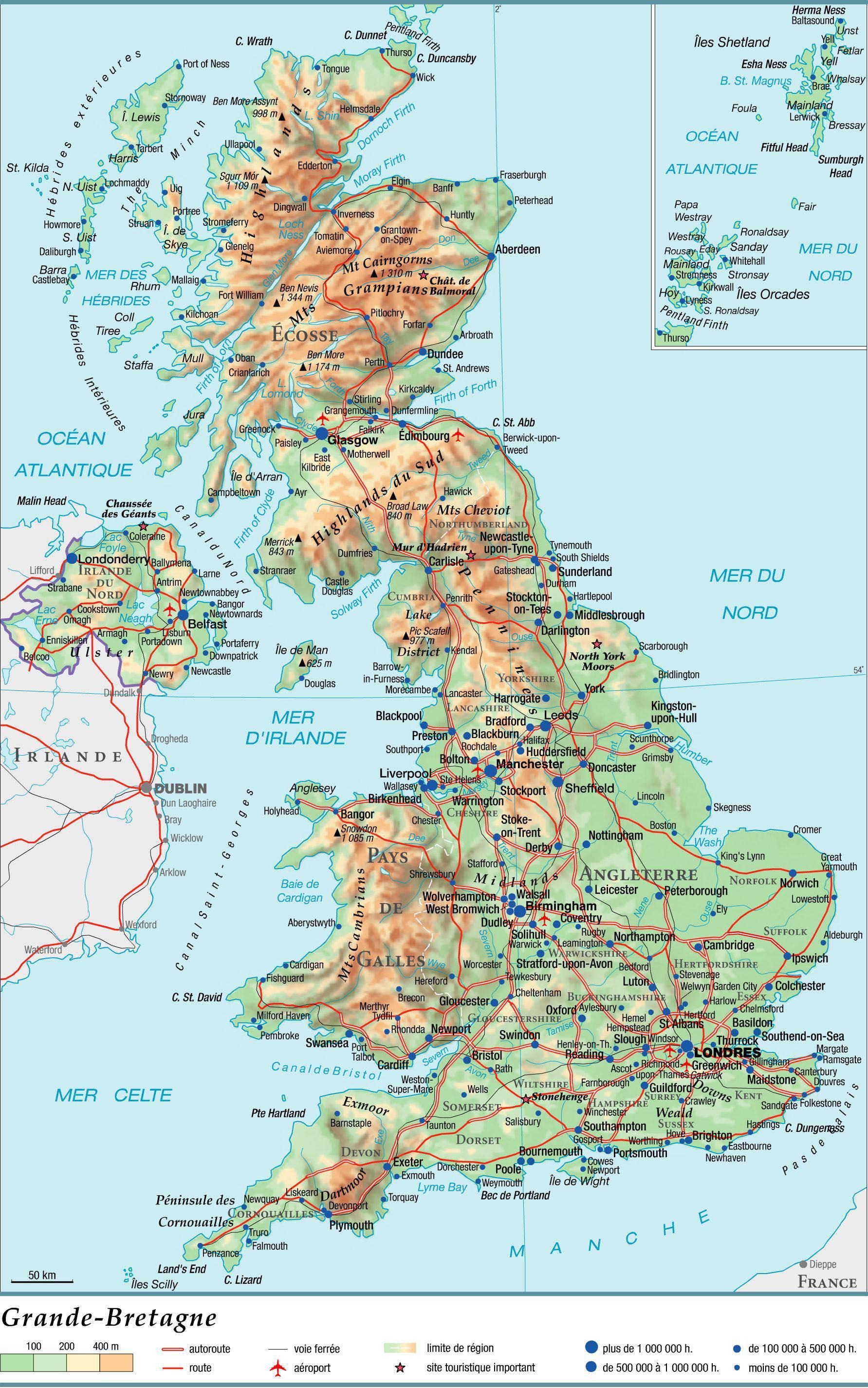 Carte du Pays de Galles   Plusieurs cartes du pays en Europe