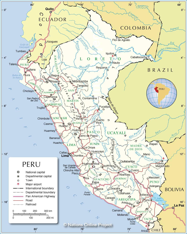 Carte du Pérou   Carte du pays en Amérique du Sud (villes
