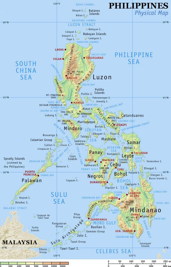 Carte géographique des Philippines