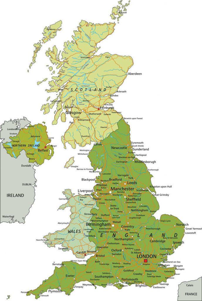 Carte géographique du Royaume-Uni