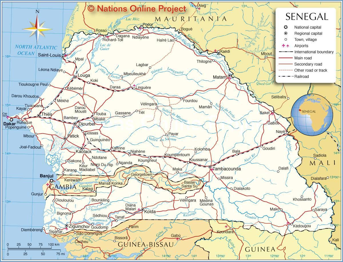 Carte géographique du Sénégal