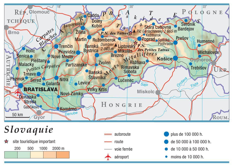 Carte géographique de la Slovaquie
