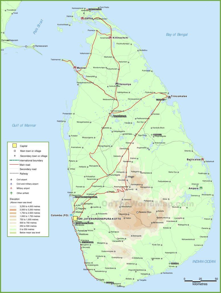 Carte géographique du Sri Lanka