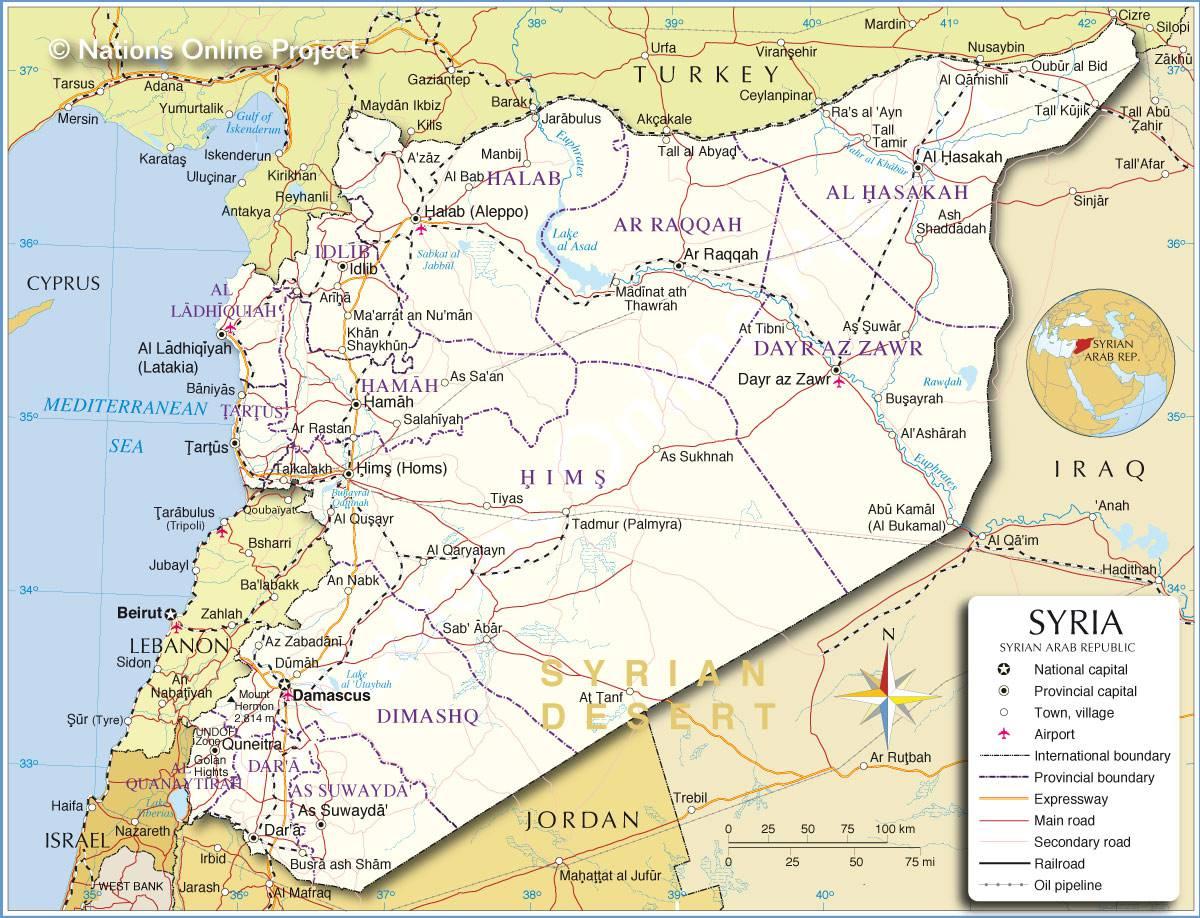 Carte géographique de la Syrie
