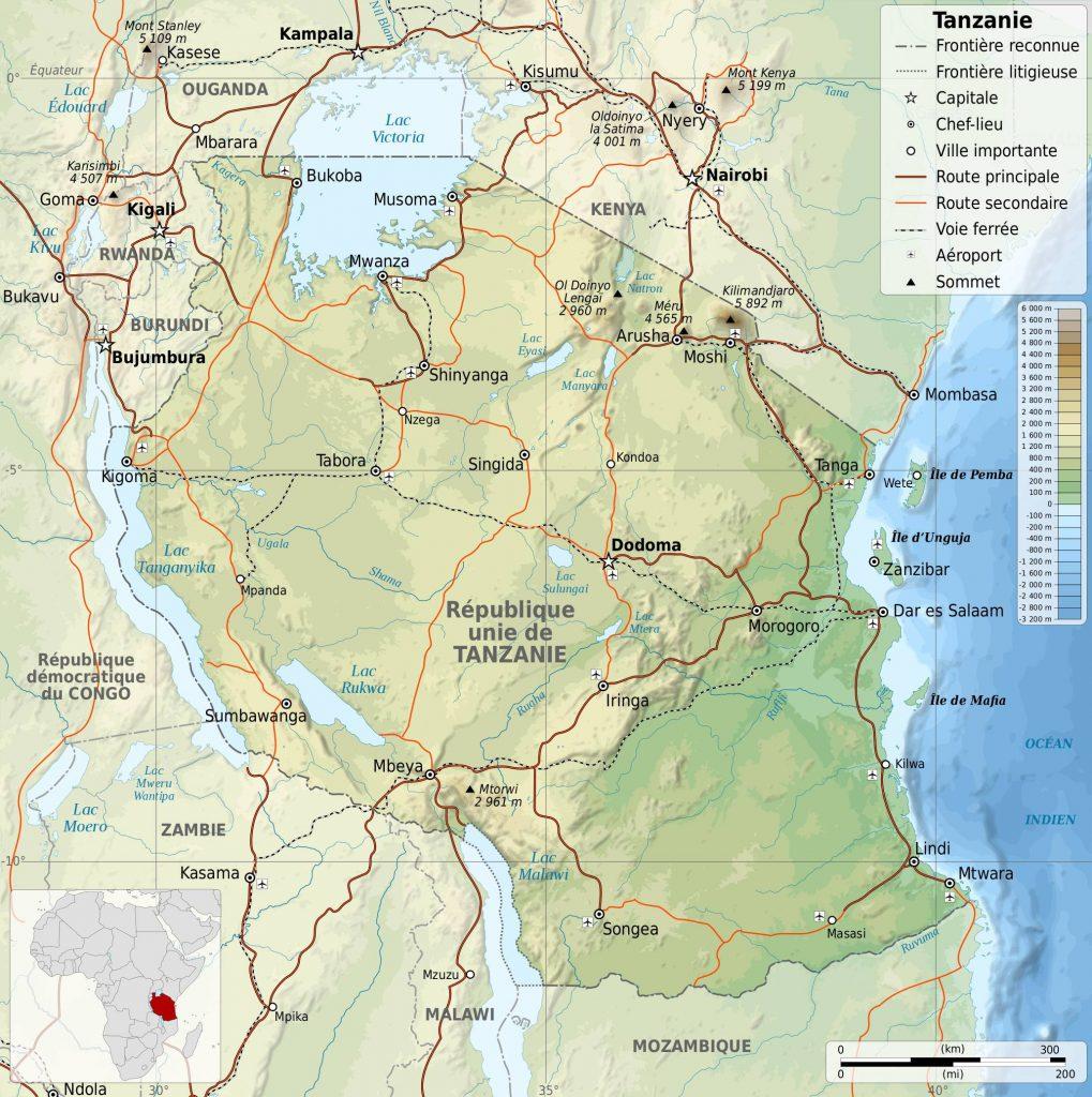 Carte géographique de la Tanzanie