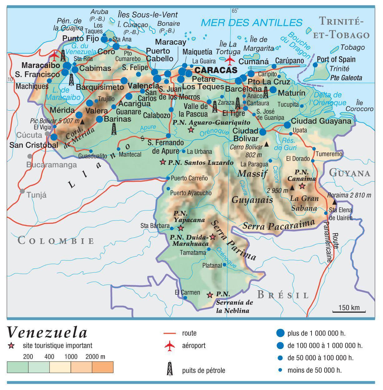 Carte géographique du Venezuela
