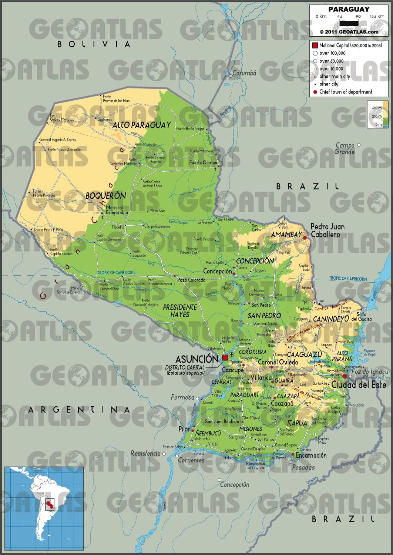 Carte géographique du Paraguay