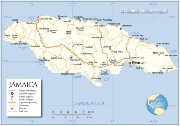 Carte de la Jamaïque