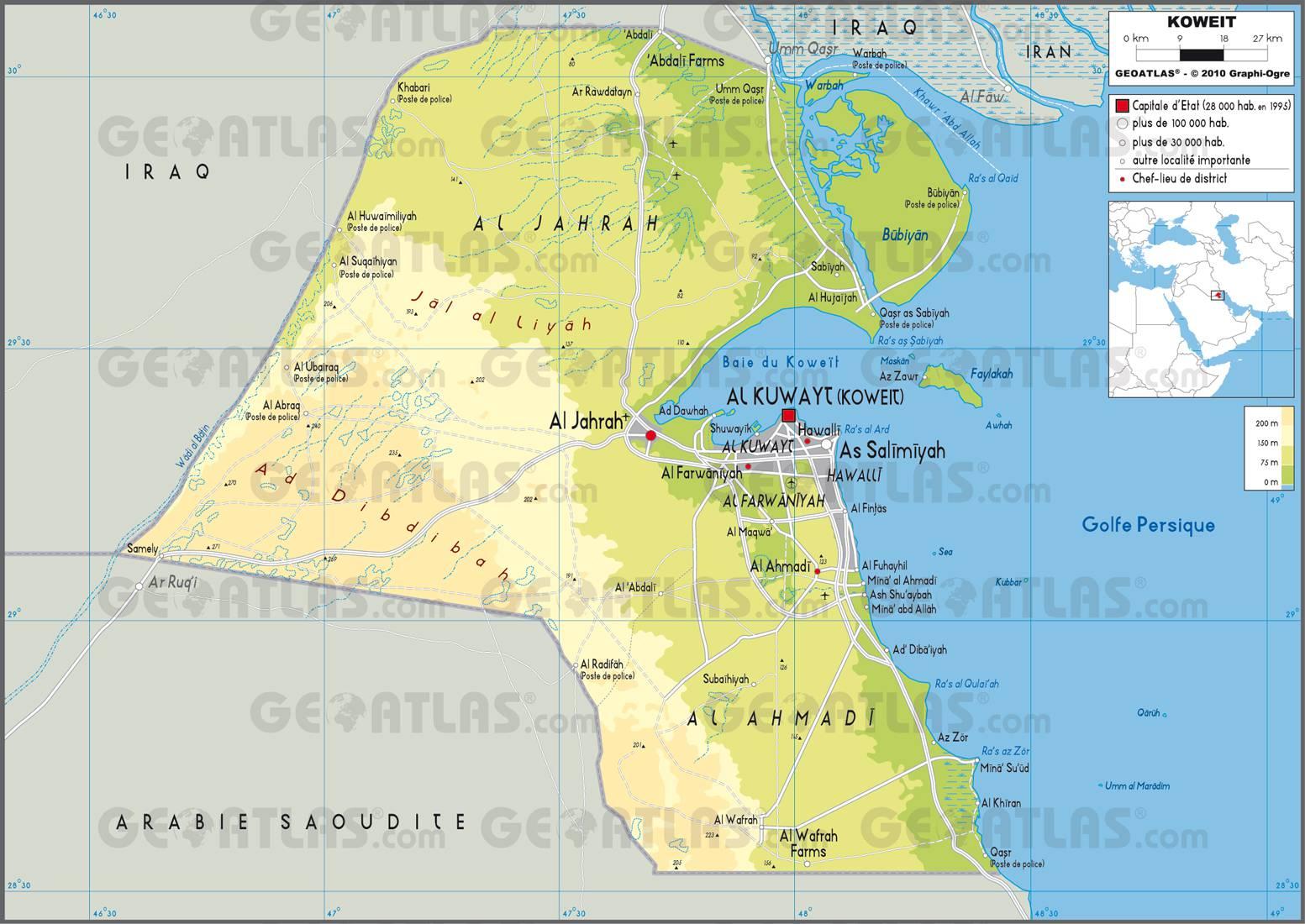 Carte du Koweït