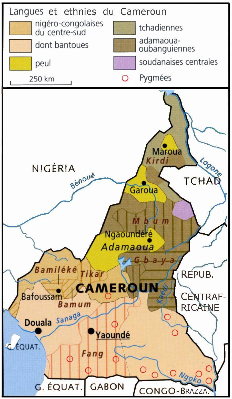 Caret des langues et ethnies au Cameroun