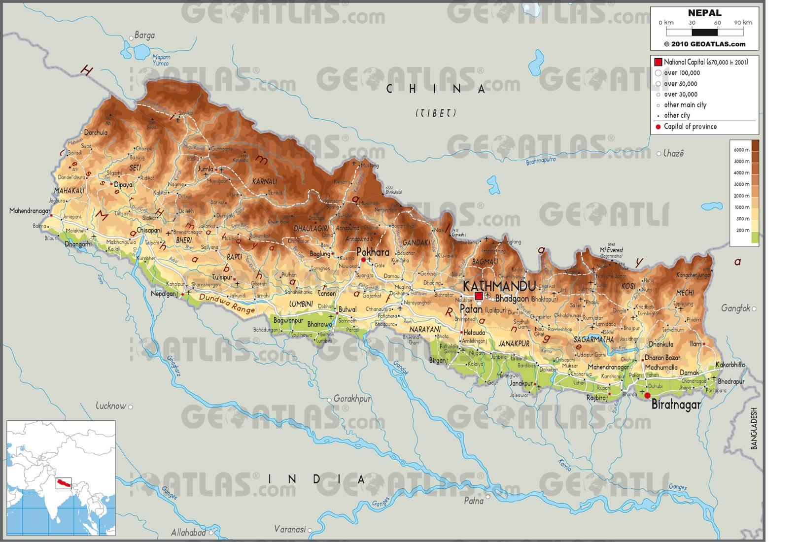 Carte du Népal
