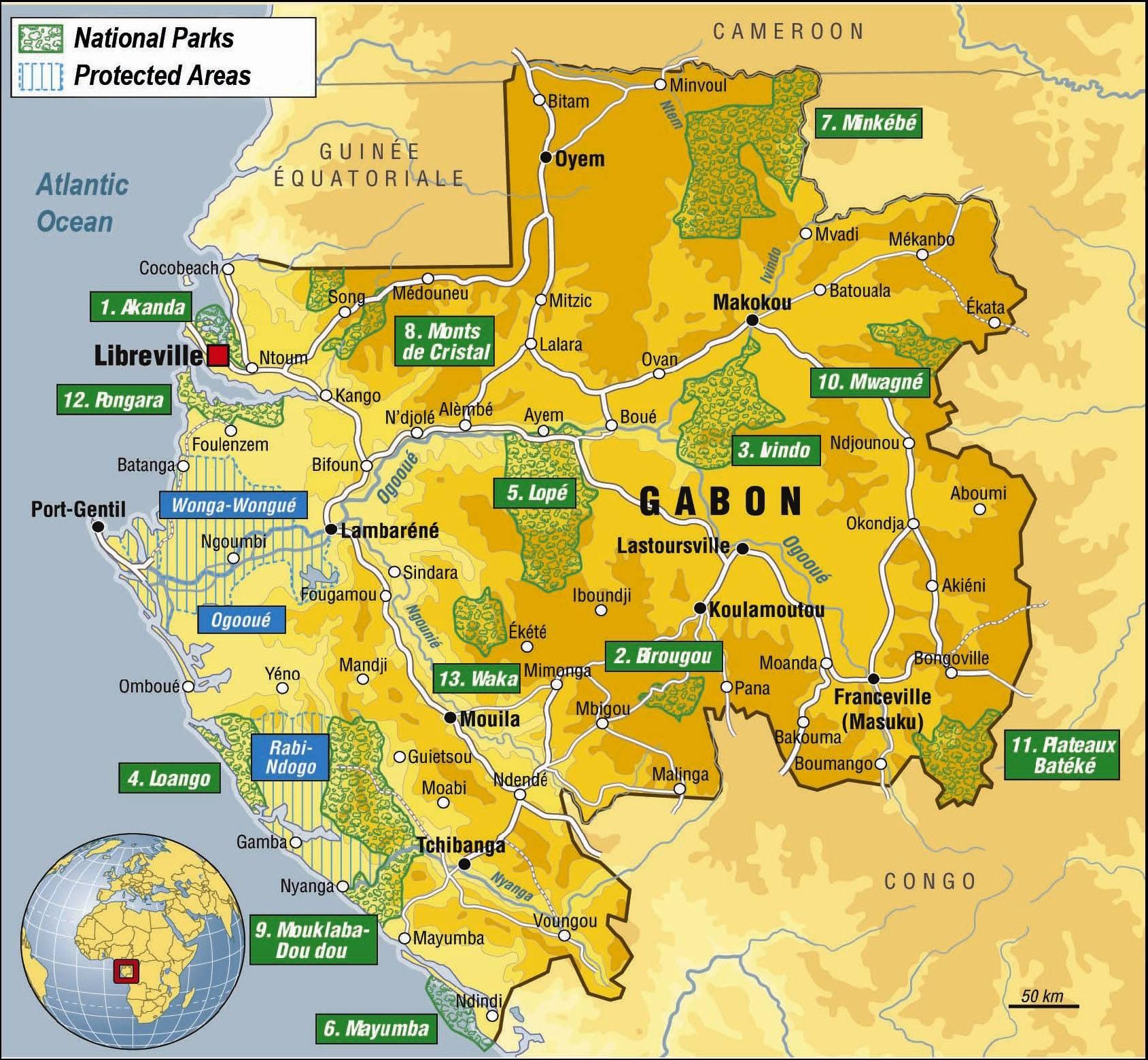 Carte des parcs nationaux du Gabon