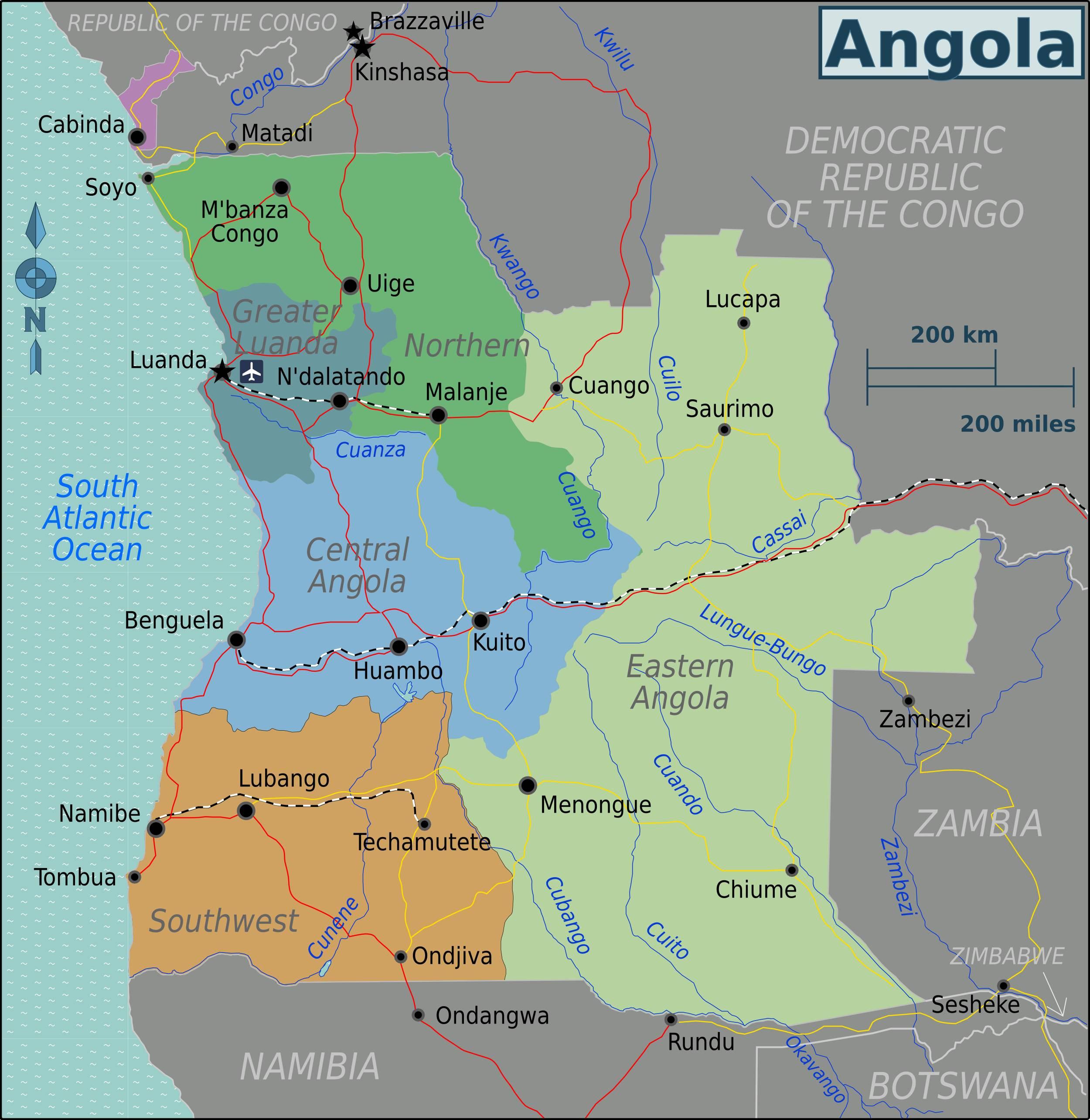Carte politique de l'Angola