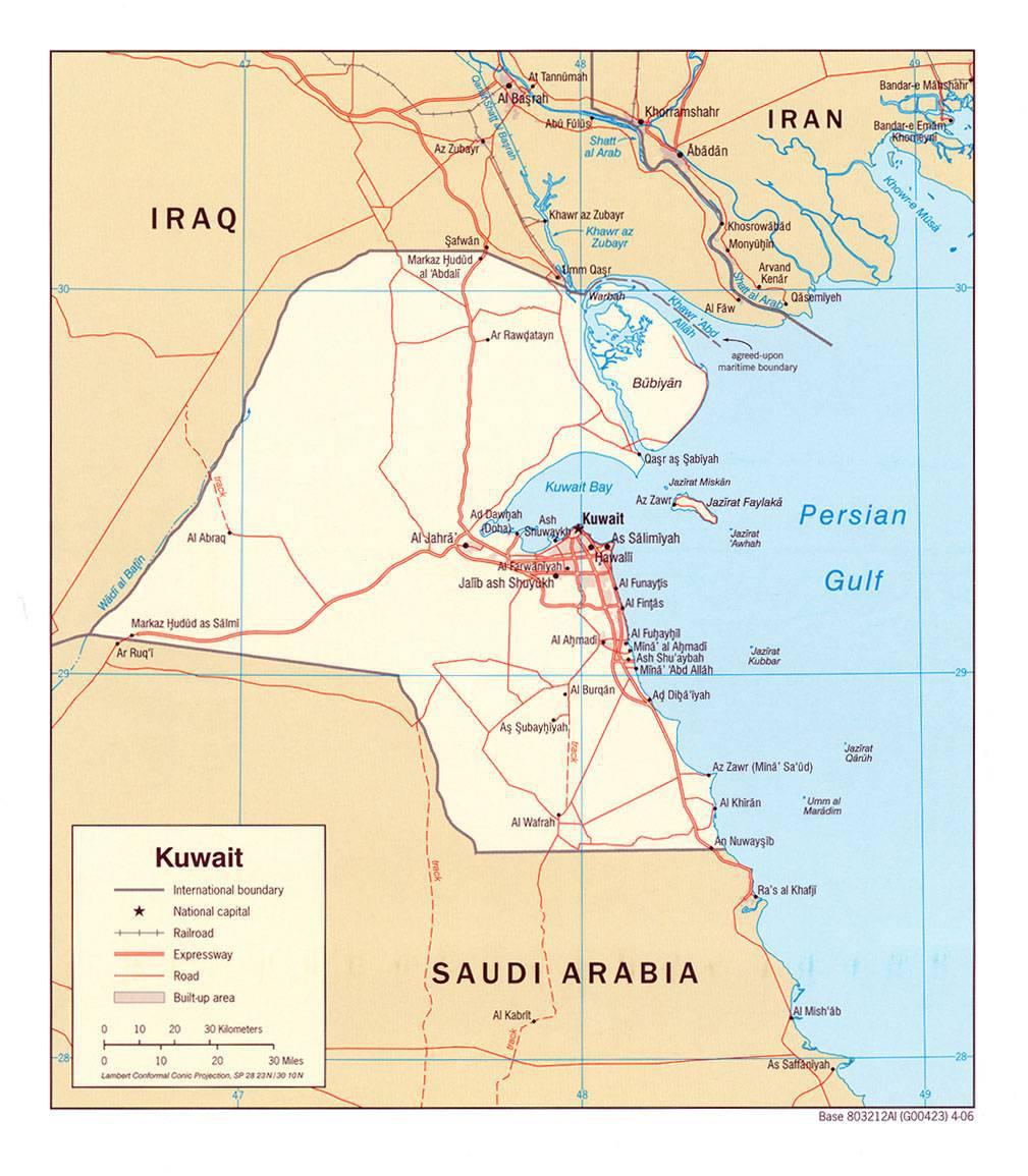 Carte politique du Koweït
