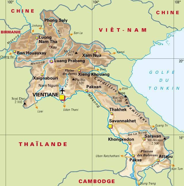 Carte politique du Laos