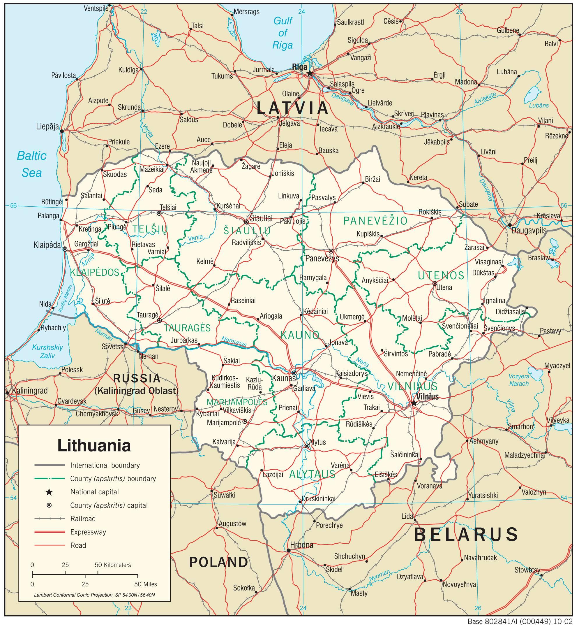 Carte politique de la Lituanie
