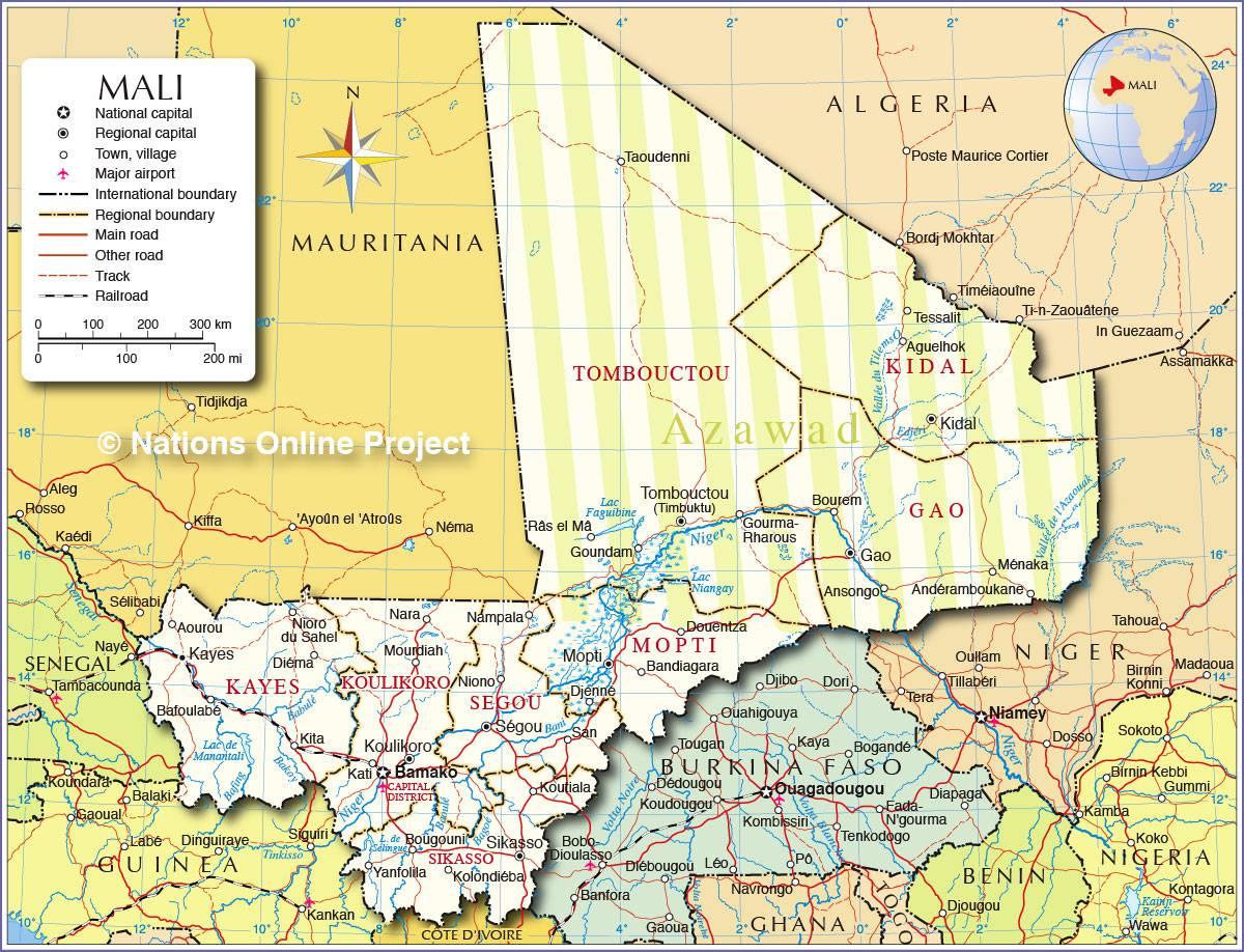 Carte politique du Mali