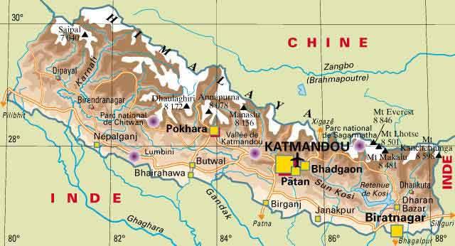Carte politique du Népal
