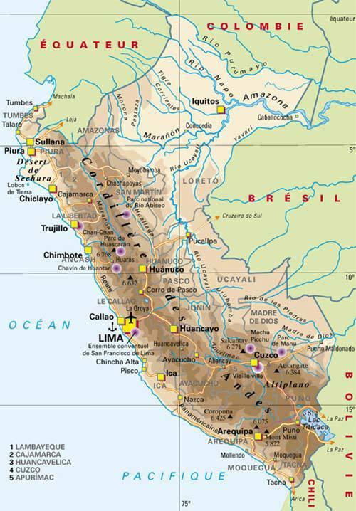 Exceptionnel Carte du Pérou - Carte du pays en Amérique-du-Sud (villes  ZO58
