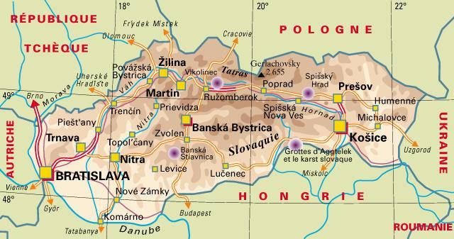 Carte politique Slovaquie
