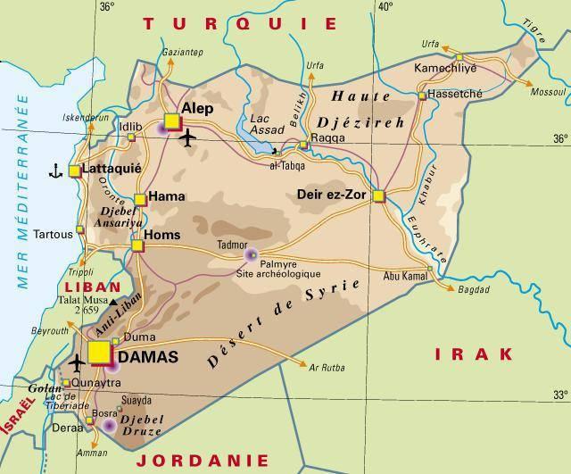 Carte politique de la Syrie