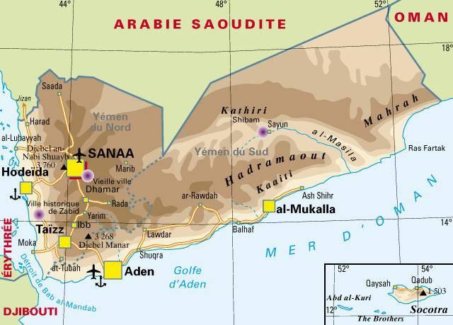 Carte politique du Yémen