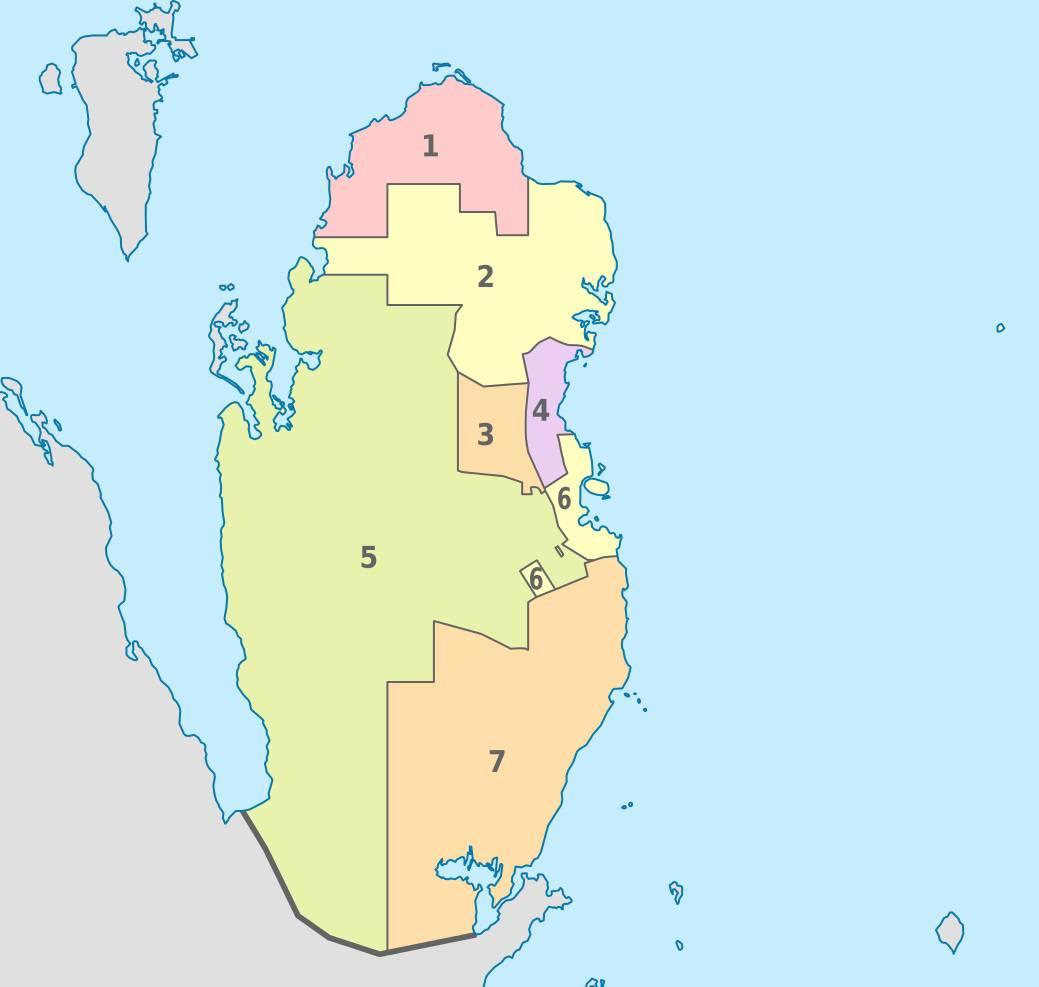 Carte des provinces du Qatar