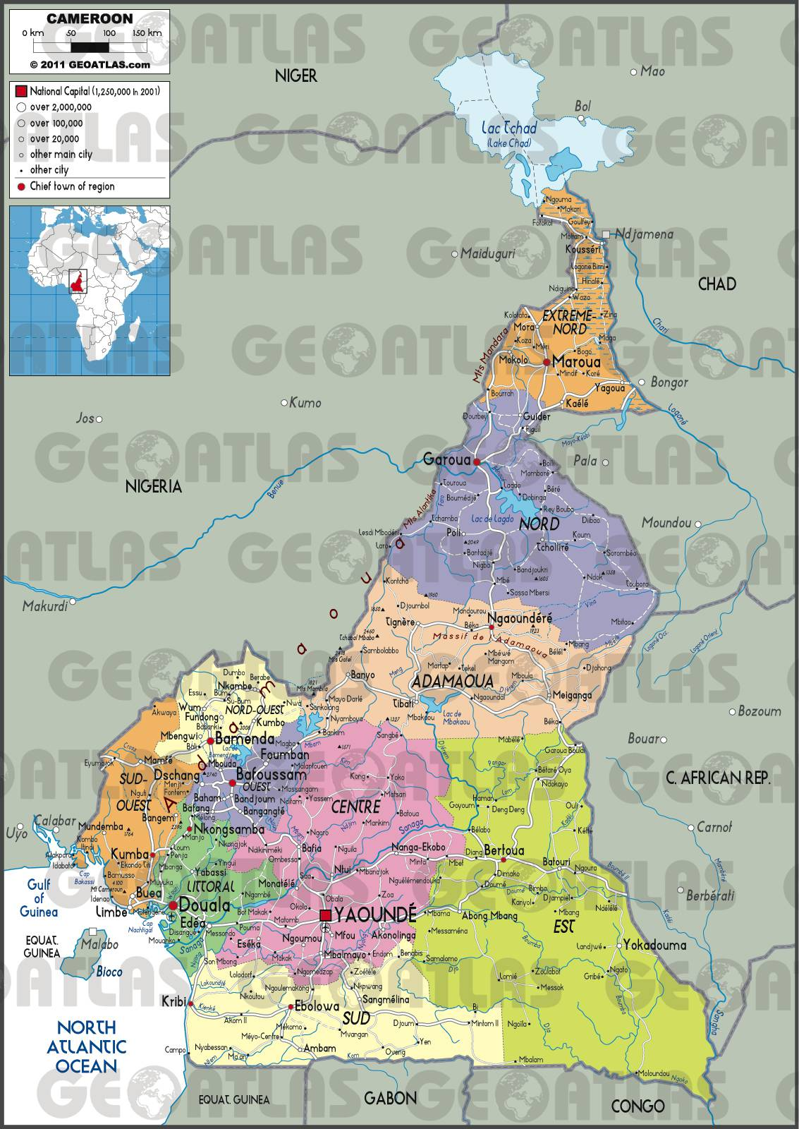 Carte des régions du Cameroun