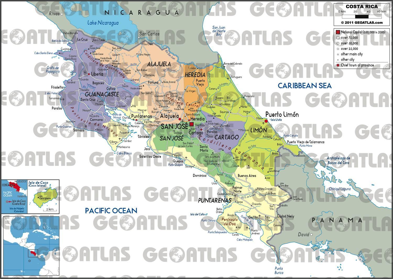 Carte des régions du Costa Rica
