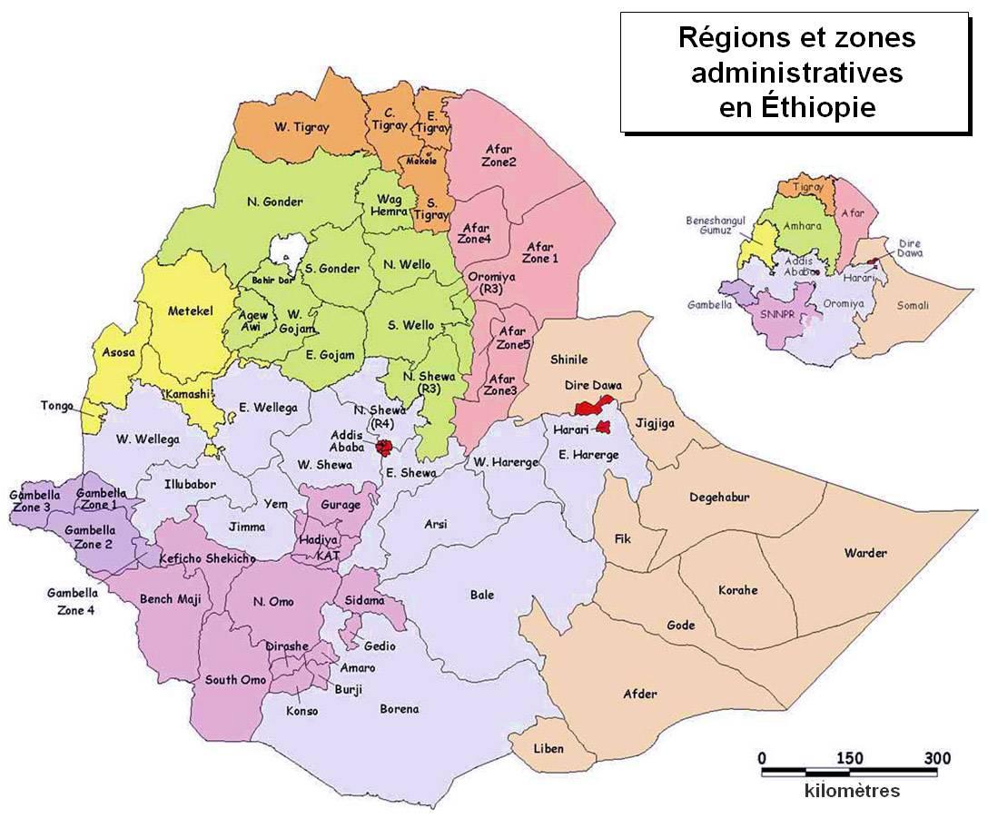 Carte des régions de l'Ethiopie