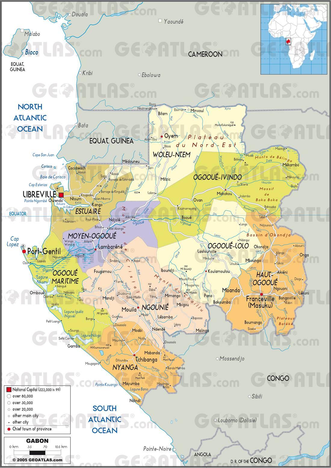 Carte du gabon plusieurs carte du pays en afrique villes g ographie - Consulat de france port gentil ...